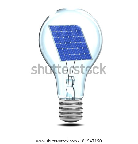 3d render of a lightbulb with a solar panel inside - stock photo