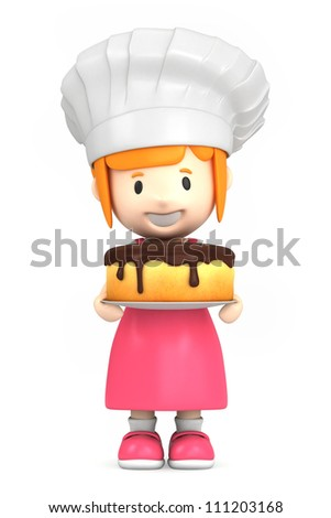 3d render of a little baker - stock photo