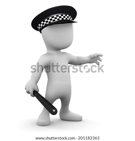 3d render of a little man dressed as a police officer
