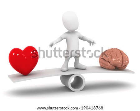 3d render of a little man on a seesaw torn between the heart and mind - stock photo