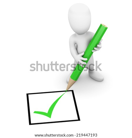 3d render of a little man ticking a box with a green pencil