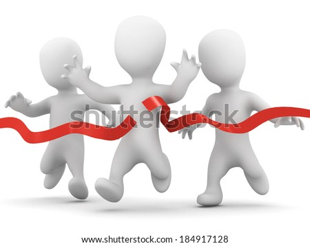 3d render of a little people racing, one crosses the line first - stock photo