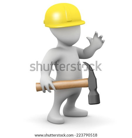 3d render of a little person holding a hammer and wearing a safety helmet