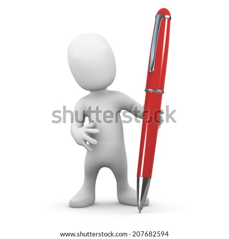 3d render of a little person holding a red pen