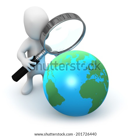 3d render of a little person looking at a globe with a magnifying glass