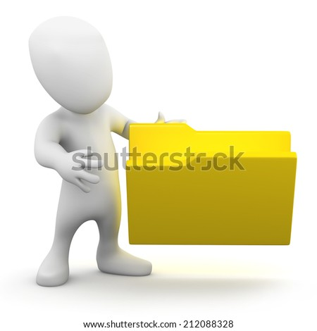 3d render of a little person next to an empty folder