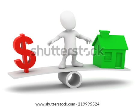 3d render of a little person on a seesaw balancing a US Dollar symbol and a house - stock photo