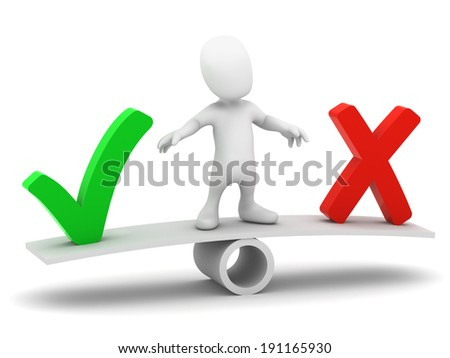 3d render of a little person on a seesaw deciding between a tick or cross - stock photo