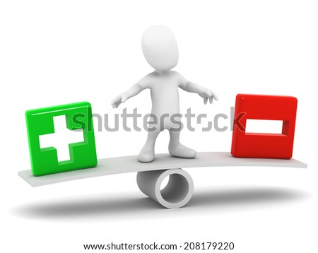 3d render of a little person on a seesaw with a plus and minus sign - stock photo