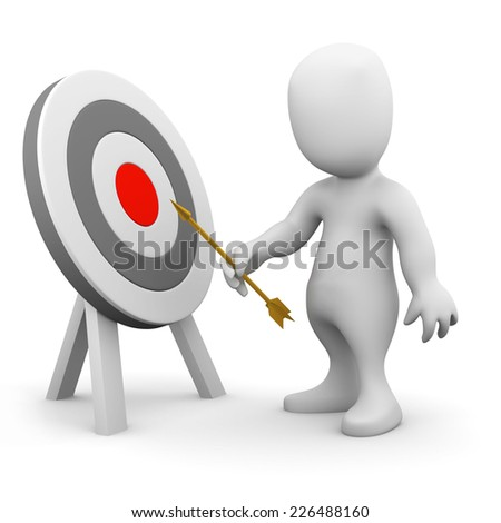 3d render of a little person pointing an arrow at a target