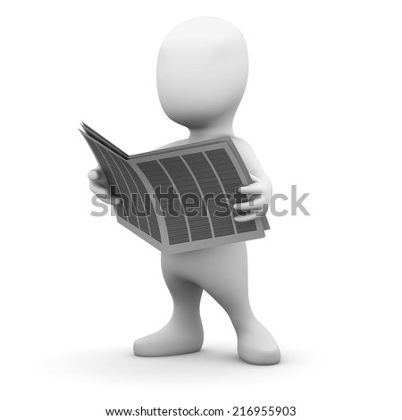 3d render of a little person reading a newspaper
