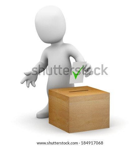 3d render of a little person voting