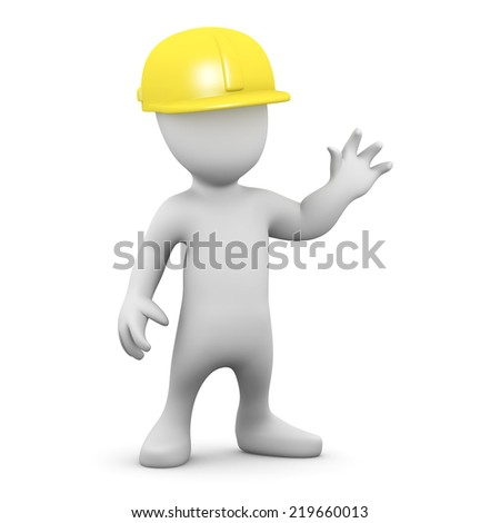 3d render of a little person wearing a safety helmet