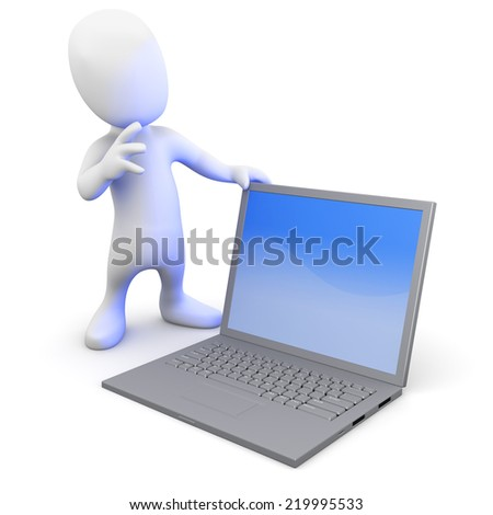 3d render of a little person with a laptop pc