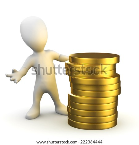 3d render of a little person with a stack of gold coins