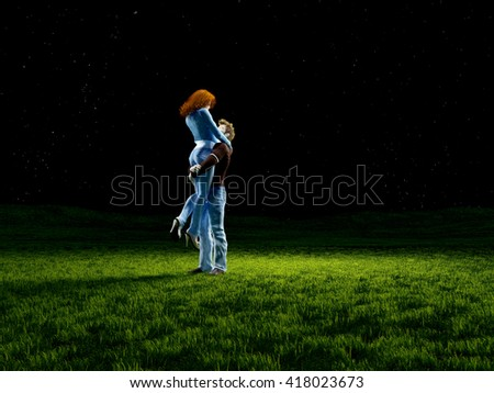 3d render of a loving couple on the grass.