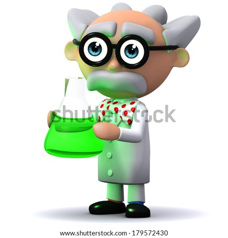 3d render of a mad scientist character holding a green beaker - stock photo