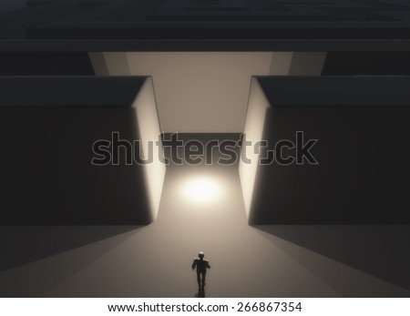 3D render of a male figure stood in front of a maze - stock photo