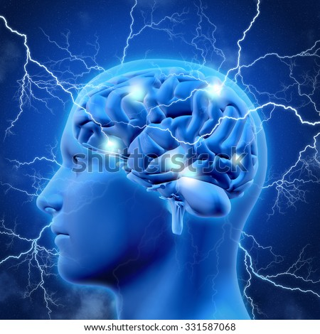 3D render of a male head and brain with lightening bolts - stock photo