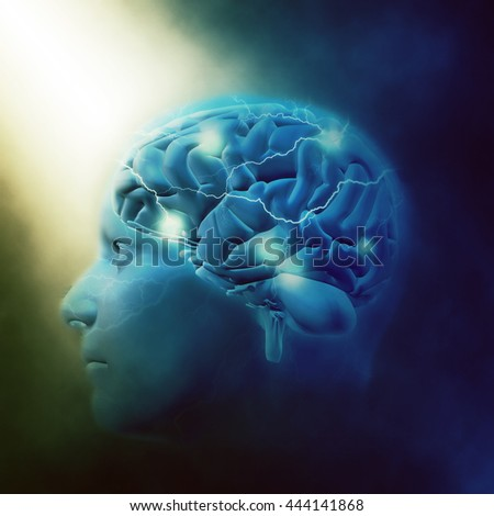 3D render of a male head with brain and lightening effect - stock photo