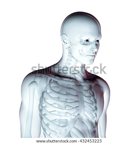 3D render of a male medical figure with skeleton