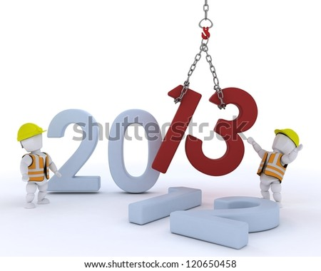 3D render of a man  bringing in the new year - stock photo