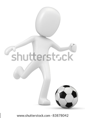 3D Render of a Man playing Soccer - stock photo