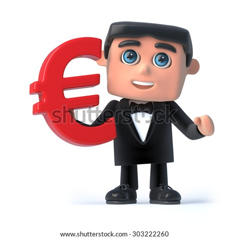 3d render of a man wearing a bow tie and tuxedo and holding a Euro currency symbol - stock photo