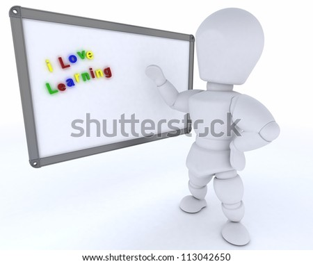 3D render of a man with White class room drywipe marker board