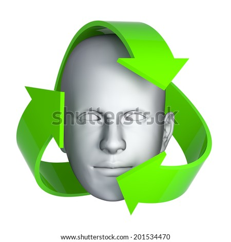 3d render of a mans surrounded by recycle arrows - stock photo