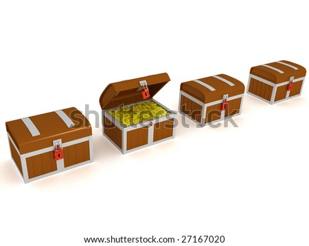 3d render of a many treasure chest - stock photo