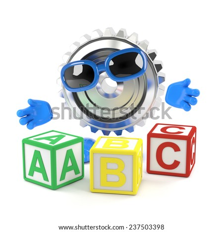 3d render of a metal cog character with alphabet blocks - stock photo