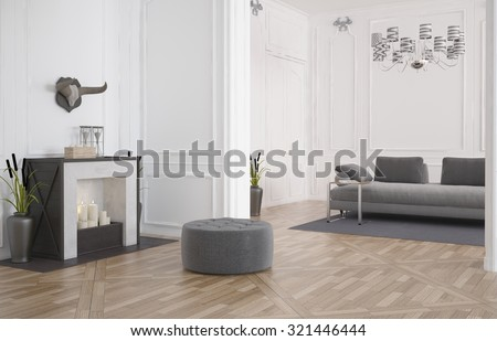 3d render of a minimalist modern living room interior with a circular seat in front of a fireplace on a bare hardwood floor and a sofa in a recessed alcove with white wood paneling. 3d Rendering. - stock photo