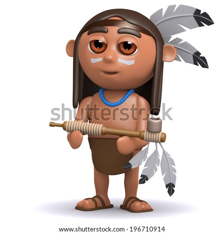 3d render of a Native American Indian offering a peace pipe