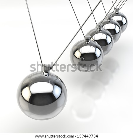 3D Render of a Newton Pendulum on white background