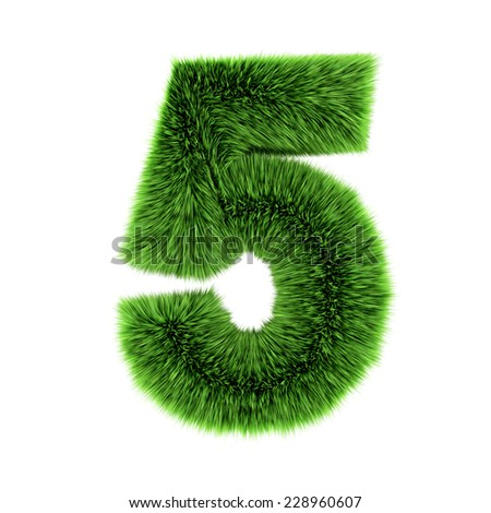 3d render of a number 5 made of grass