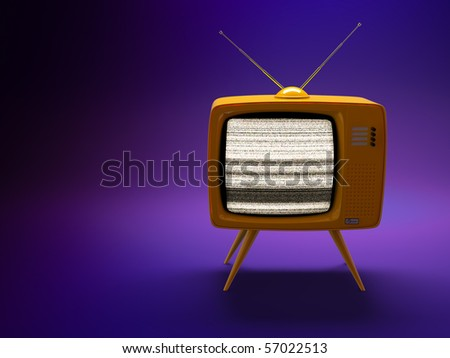 3D render of a old fashioned TV set on purple background - stock photo