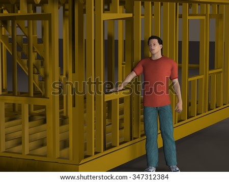 3d render of a partially constructed house frame - stock photo