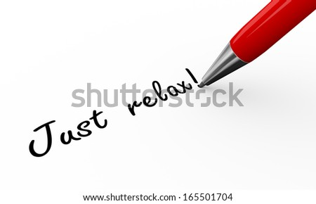 3d render of a pen writing just relax on white paper background