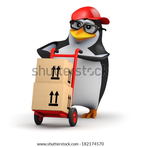 3d render of a penguin delivering boxes with a hand cart - stock photo