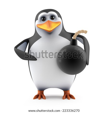 3d render of a penguin holding a bomb - stock photo
