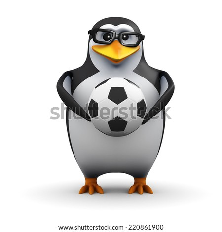 3d render of a penguin holding a soccer ball
