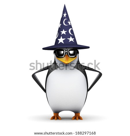 3d render of a penguin in a wizards hat - stock photo