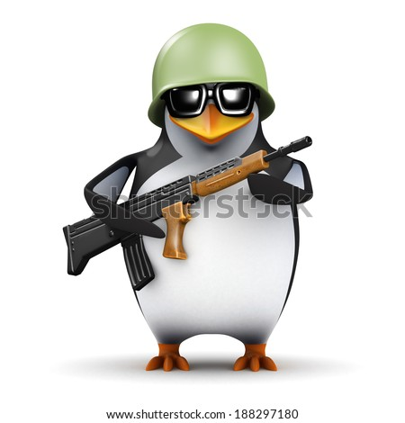 3d render of a penguin in army uniform with rifle