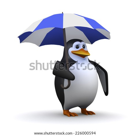 3d render of a penguin under an umbrella