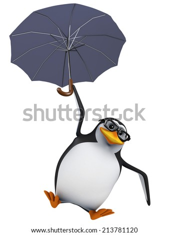 3d render of a penguin using an umbrella to slow his descent