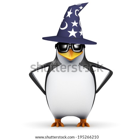 3d render of a penguin wearing a pointy wizards hat - stock photo