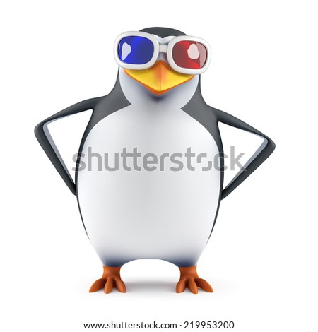 3d render of a penguin wearing 3d glasses with his hands on hips