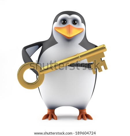 3d render of a penguin with a gold key - stock photo