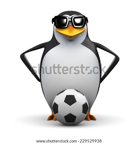 3d render of a penguin with a soccer ball.